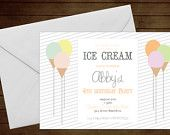 Printable Ice Cream Birthday Invitation-Print Yourself-Digital Invite