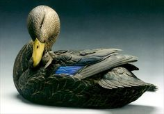 Black Duck Drake - Original Wildfowl Sculpture by Pat Godin