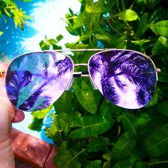 Rio Flat Purple Mirrored Lens  Womens Fashion Aviator Sunglasses