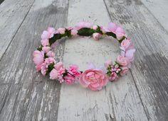 Pink Rose Floral Crown, Pink Flower Headband, Flower Crown, Wedding Headpiece, Bridesmaid headpiece, flower girl headband