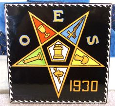 Order Of The EASTERN STAR Women's Fraternal Masonic 1930's Tile Trivet OES 1930