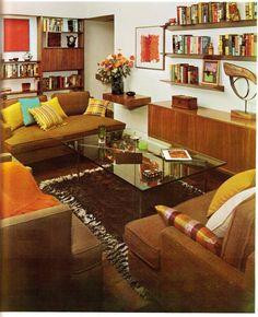 1960s Decor, 70s Home Decor, 1960s Interior Design, 1960s Living Room, Estilo Interior, Living Vintage, Interiores Design, Feng Shui, Living Room Designs