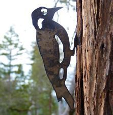 "WOODPECKER METAL TREE ART 8 1/2"" Rustic GARDEN Bird Made in USA Oregon"