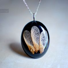 Resin jewelry Maple Seed Necklace Autumn Fall jewelry