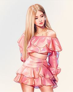 Uploaded by princess Rose. Find images and videos about kpop, rose and blackpink on We Heart It - the app to get lost in what you love. Blackpink Lisa, Fan Art, Pink Drawing, Drawing Hair, Drawing Girls, Black Pink Kpop, Black Pink Rose, Black Girls, Blue
