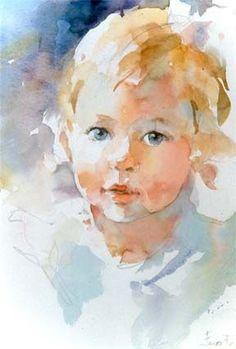 Watercolor portrait; Janet Rogers.