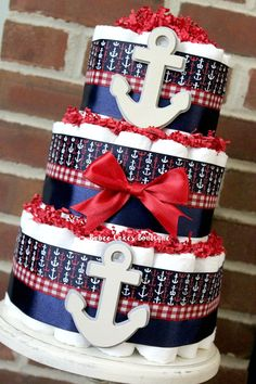 3 Tier Red Navy Anchor Nautical Diaper Cake by BabeeCakesBoutique