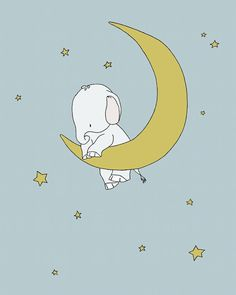 Elephant Moon Nursery Art Hold On To Your от SweetMelodyDesigns