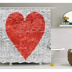 Mirryderr Rustic Home Decor Shower Curtain, Symbol of Love on Wall Romantic Feelings Heart Shape Street Pattern, Fabric Bathroom Decor Set with Hooks, Red White Grey ** Find out more about the great product at the image link. (This is an affiliate link) Bathroom Decor Sets, Bathroom Accessories, Pattern Fabric, Shower Curtain Sets, Love Symbols, Brick Wall, Heart Shapes, Hooks, Red And White