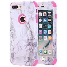 c575774575 iPhone 7 Plus Case, iPhone 8 Plus Case, KAMII White Marble Stone Pattern  Shockproof 2in1 Dual Layer TPU Bumper Hard PC Hybrid Defender Armor Case  Cover for ...