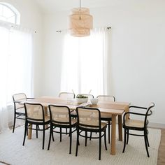 Rattan Dining Chairs, Black Rattan Chair, Black Armchair, Patio Dining, Dining Room Table, Minimalist Dining Room, Dining Room Inspiration, Dining Room Design, Design Table
