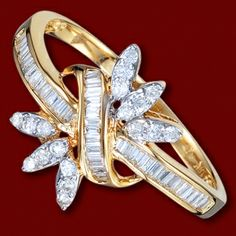 beautiful, interesting wedding gold ring, with diamonds $2110.92