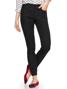 Fabrication: Premium stretch denim with a sleek coated finish. Hardware: Button closure, zip fly. Features: Five-pocket styling. Stitched biker-style seams above the knees.Cut: Mid-rise with a bit shorter length. Fit: Skinny through the hip and thigh. Leg opening: Skinny. Inseams: regular: 29