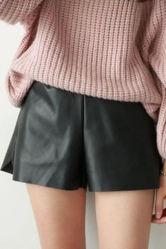 PU Leather Solid Color Shorts BLACK: Shorts   ZAFUL