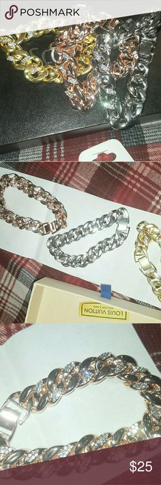 3 Cuban braclets. Rose gold! Silver, yellow gold Brand new never worn Can just buy one if wanted but all 3 for $25 GLD Supply Accessories Jewelry