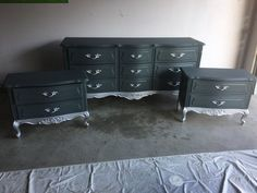 Grey and Silver Dipped French Provincial Bedroom Set Dresser #shabbychicbedroomsgrey