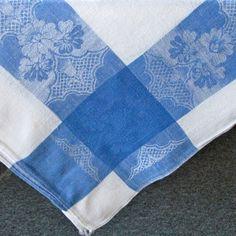 Vintage Linen Damask Tablecloth Cobalt Blue White. $15.00, via Etsy.