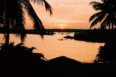 Sunset over the backwaters in Kerala