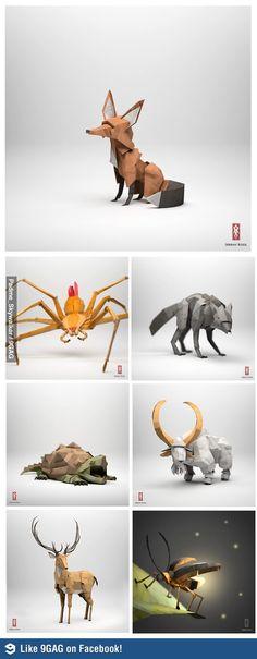 Realistic origami art