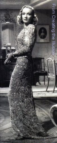 Marlene Dietrich in Angel, 1937. Costume by Travis Banton. Imaage from Creating the Illusion by Jorgensen and Scoggins.