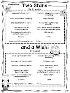 """Two Stars and a Wish for Narrative Writing from O """"FISH"""" ally a First Grader"""