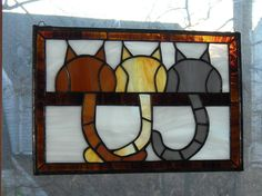 Three Chubby Cats stained glass panel
