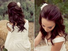 Brunette half updo for wedding | Sami's hair would look gorgeous like this!
