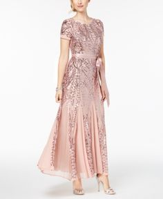 This conservatively elegant beaded long gown from RM Richards will take you to the next style level. This one-piece, short sleeved, fully-lined floor-length gown is offset by a satin bow in front, and is perfect for your next cocktail party. Mother Of Groom Dresses, Mother Of The Bride, Bride Dresses, Wedding Dresses, Sequin Gown, Embellished Gown, Evening Dresses, Formal Dresses, Floor Length Gown