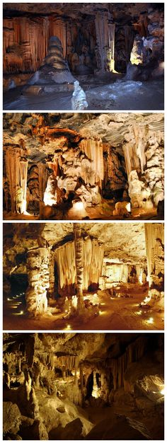 The Cango Caves, Oudtshoorn, South Africa are a 4km long sequence of caverns of glittering stalagmites and stalactites.