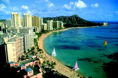 Active Waikiki Beach, the playground of South Oahu.