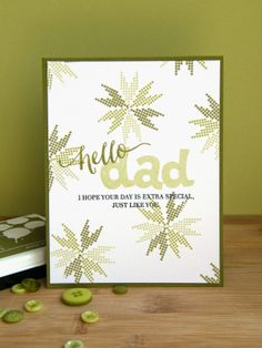 Kara Vrabel for Wplus9 featuring Borders & Backgrounds 4, Epic Dad, Strictly Sentiments 4, and Hand Lettered Hello