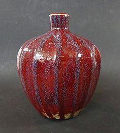 Antiguos chinos Flambé florero de la porcelana