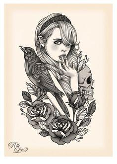 crow skull tattoo - Hledat Googlem