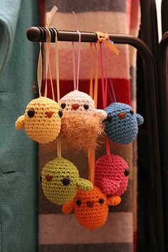 Six amigurumi birds, made with my own pattern, and strung up with ribbon.  These little birdies are flying over to Lark Books in hopes of being published in an upcoming craft book. 100% cotton, machine washable.  UPDATE! Pattern now available in Kooky Crochet, by Linda Kopp. (^o^) If you make these birds, please share photos! I would love to see!