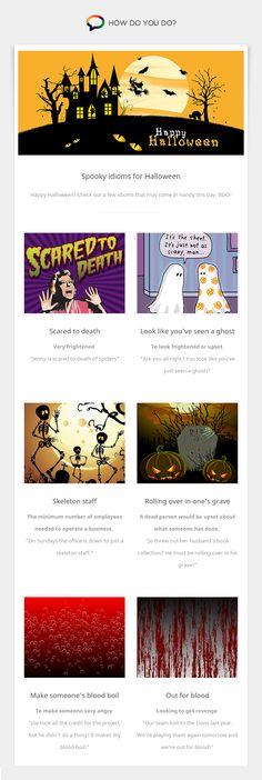 Learn and practice foreign languages with native speakers from all over the world - for free. Teaching English, Learn English, Spooky Halloween, Happy Halloween, English Idioms, Need Someone, Foreign Languages, Infographics, Learning