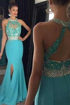 Sexy Right Split Mermaid Party Dresses Applique Beaded Sweep Chiffon Evening Prom Pageant Dresses