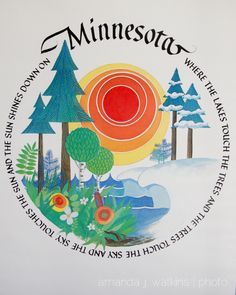 @Hanna Andersson Wolfsteller i have this mug!!! love this image:) been looking for the print for years???  wildly simple : Minnesota poster by Jane Peters, 1981