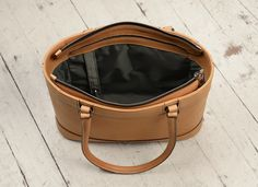 """Hand-grained, handmade natural leather Business Tote with long handles; 14 x 10 x 4""""    www.glaserdesigns.com  glaserdesigns.wordpress.com"""