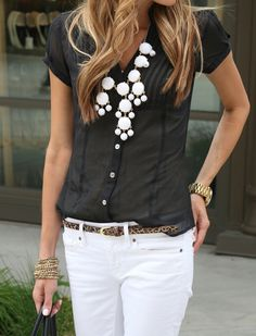 black & white w/ leopard skinny belt. <3