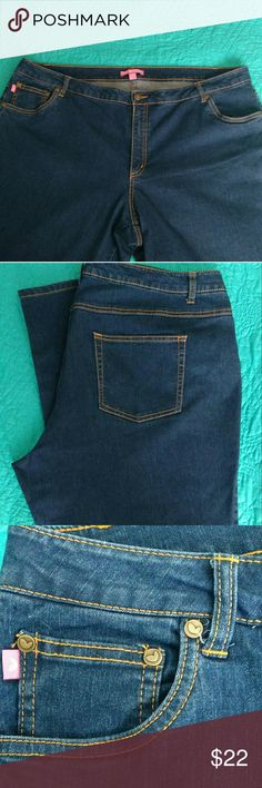 Woman Within denim jeans, like new, size 24W Like New, pretty orange stitching, 28 inch inseam Woman Within Jeans Boot Cut