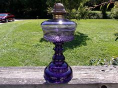 "PERFECT Antique PURPLE/AMETHYST Glass OIL LAMP, ""Salem Swirl Band"", Fan Base"