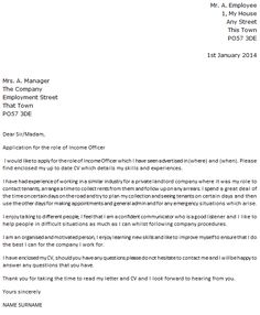 Income Officer Cover Letter Example - icover.org.uk