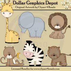 Baby Zoo Animals - Clip Art - *DGD Exclusive* - $1.00 : Dollar Graphics Depot, Quality Graphics ~ Discount Prices
