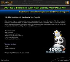 EDU Backlinks 790+ High Quality Verified. More Info here: http://a.seoclerks.com/linkin/220493/Link-Building/466976/790-EDU-Backlinks-with-High-Quality-Very-Powerful #Backlinks #EDUbacklinks #BacklinksEDU #marketing #SEO