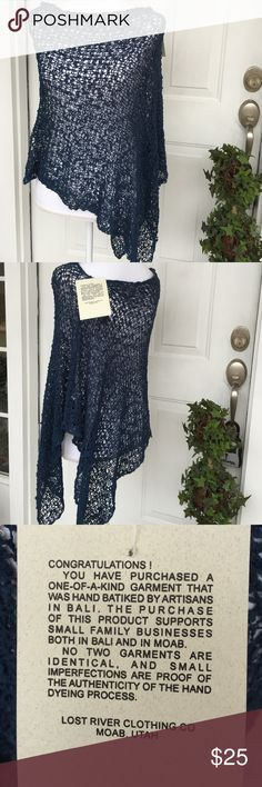 "Poncho Beautiful navy poncho in loose knit popcorn stitch. Asymmetrical, measuring 32"" at longest point.  Dress up with a white shirt and jeans!! Never worn, tag still attached. Lost River Accessories Scarves & Wraps"