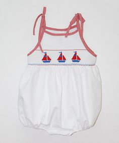 Look what I found on #zulily! White Sailboat Smocked Bubble Bodysuit - Infant #zulilyfinds