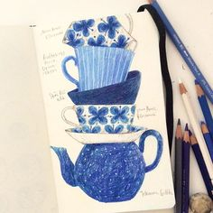 Drawing while my Friday night tea cup hunting. Found this image on Pinterest. I've been so much into these beautiful Scandinavian tablewares- I was searching for online shops for whole evening but couldn't decide many of them are vintage and discontinued... But I will definitely get Marianne Westman's Mon Amie tea cup! #colorpencil #drawing #illustration #sketchbook #moleskine #teacup #blue #doodle #monamie #rorstrand