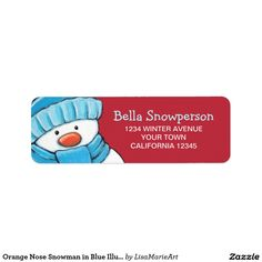 carrot nose snowman in green illustration return address labels