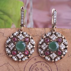a5b73fe30b5 Blucome Top Selling Bijoux Green Turkish Jewelry Drop Earrings For Women  Vintage Round Princess Hooks Long Earring Max Brincos
