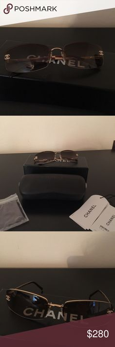 Chanel Frameless Tinted Crystal CC Logo Sunglasses Like new, worn twice. Chanel gold/brown frameless tinted glasses with crystal CC logo.  Brown tint lens with gold tone arms.  I have the box, case, cleaning cloth and cards.  Retail is 300.00. Purchased at Saks Fifth Avenue. CHANEL Accessories Sunglasses